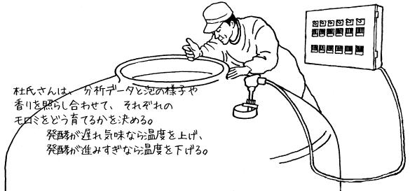 仲・留仕込み/杜氏さんは、分析データと泡の様子や香りを照らし合わせて、それぞれのモロミをどう育てるかを決める。発酵が遅れ気味なら温度を上げ、発酵が進みすぎなら温度を下げる。