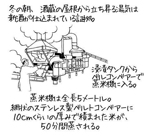 冬の朝、酒蔵の屋根から立ち昇る湯気は新酒が仕込まれている証拠。 浸漬タンクからベルトコンベアーで蒸米気に入る。蒸米機は全長5メートル。網状のステンレス製ベルトコンベアーに10cmくらいの厚みで積まれた米が、50分間蒸される。