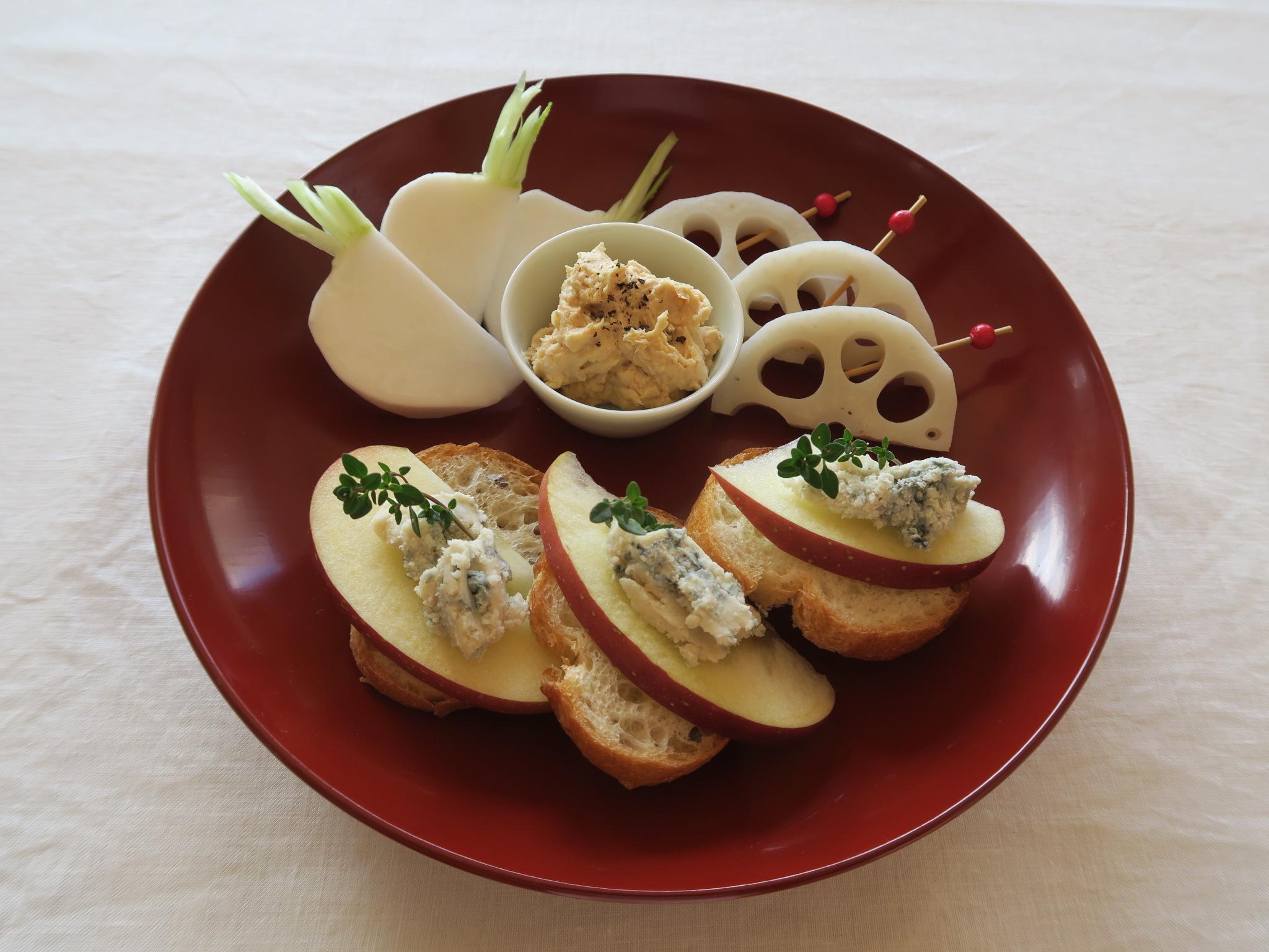 林檎とゴルゴンゾーラのカナッペ・味噌チーズ